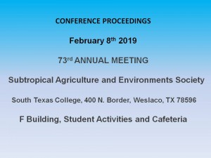 2019 Abstracts – Subtropical Agriculture and Environments